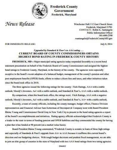 Frederick County Bond Rating News Release - July 2014