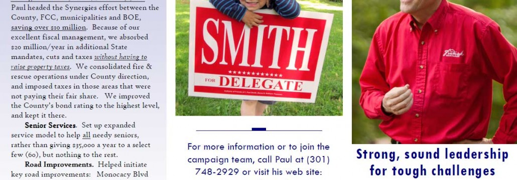 2014 flier Paul Smith for Maryland House of Delegates